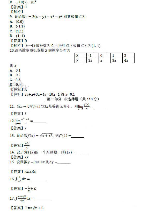 2019年江苏成人高考专升本高数(二)真题及答案