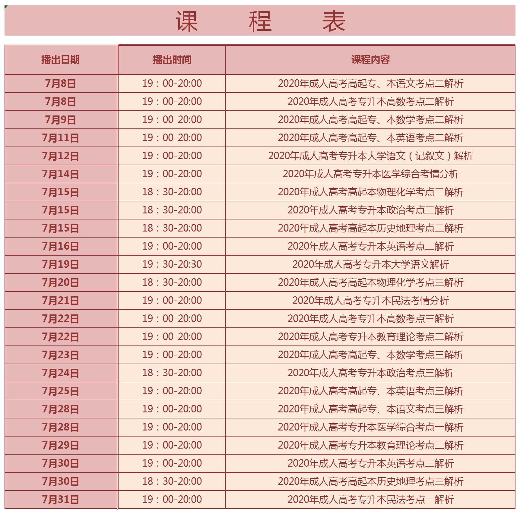 重磅!2020年江苏成人高考7月直播课开播啦!