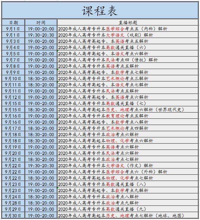 重磅!2020年江苏成人高考9月直播课开播啦!