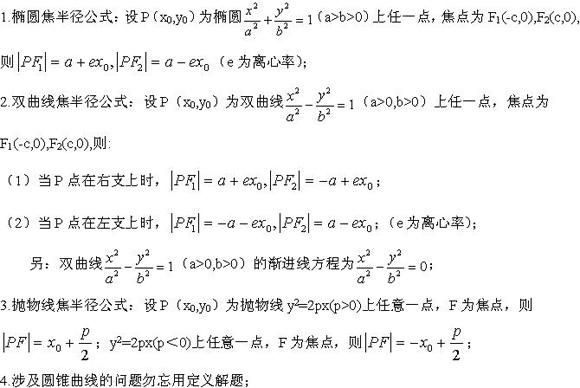 2020年江苏成人高考文科数学圆锥曲线考点