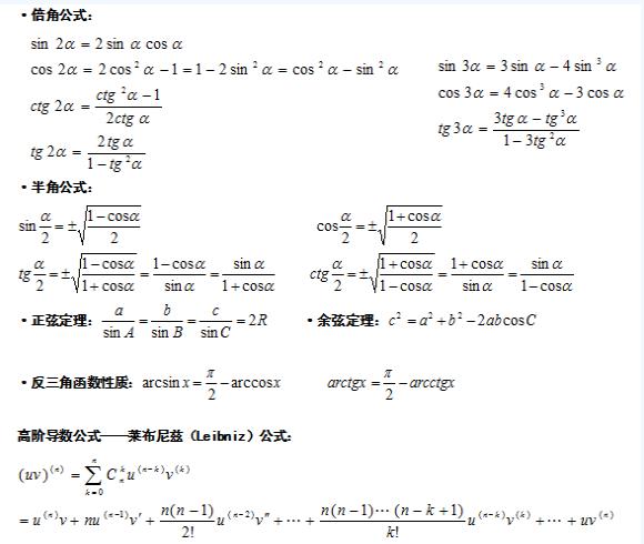 2020年江苏成人高考专升本高等数学(二)考点总结