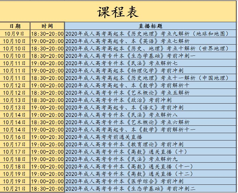 重磅!2020年江苏成人高考10月直播课开播啦!